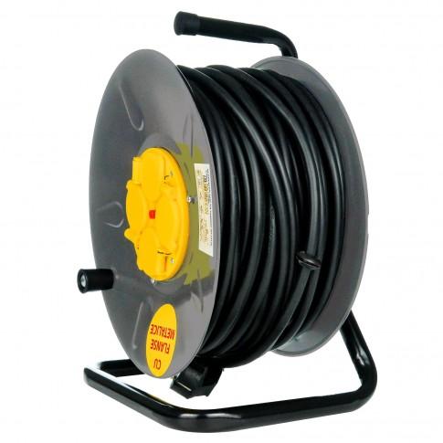 Derulator cablu electric cu flanse metalice, 4 prize, 50 m, 3 x 2.5 mmp, contact de protectie