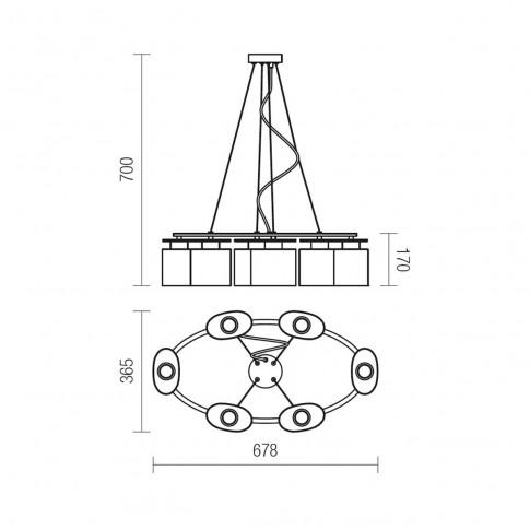 Suspensie Shape 01-1031, 6 x E14, crom + lemn finisat wenge + opal