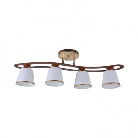 Plafoniera tip lustra Cup Ly 3078, 4 x E27, auriu + maro + alb