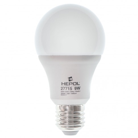 Bec LED Hepol clasic A60 E27 9W 850lm lumina calda 3000 K, dimabil
