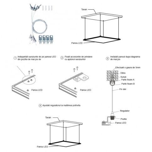 Kit montaj panou LED Silvercloud