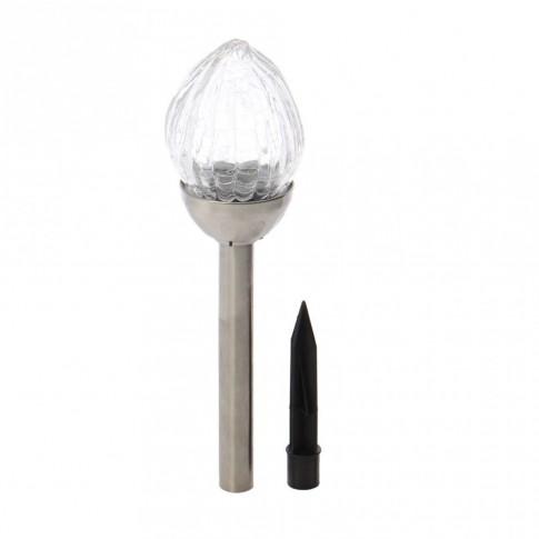 Lampa solara LED Hoff, inox, sticla, 38 cm