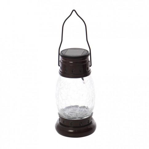 Lampa solara LED Hoff, felinar, plastic, metal, sticla, H 31 cm