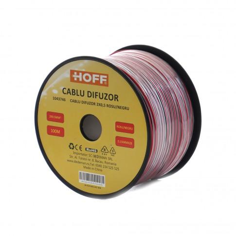 Cablu difuzor 2 x 0.5 mmp Hoff, rosu / negru