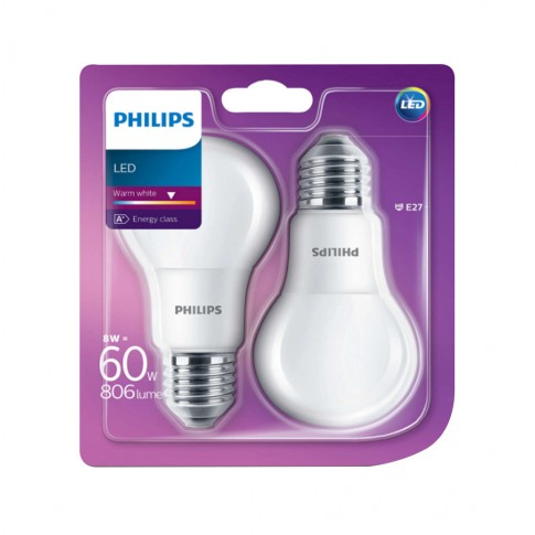Bec LED Philips clasic A60M E27 7.5W 806lm lumina neutra 4000 K - 2 buc