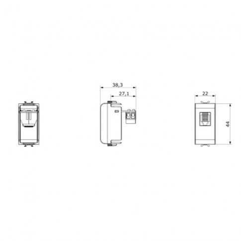 Priza telefon Chorus GW12401-1BL, RJ11, incastrata, modulara - 1 m, neagra