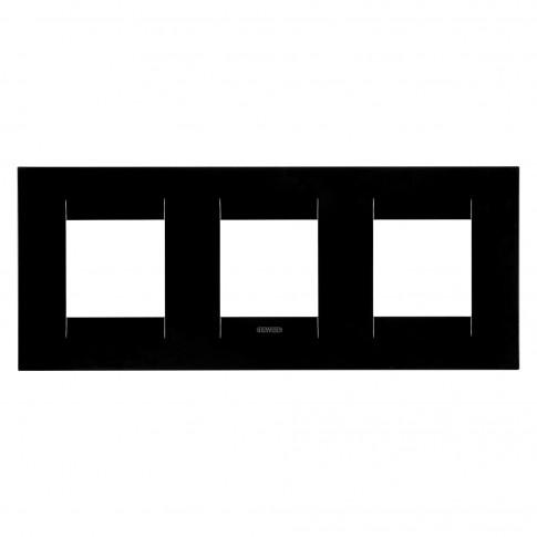 Rama Gewiss Chorus Geo GW16426TN, 6 module, neagra, pentru priza / intrerupator