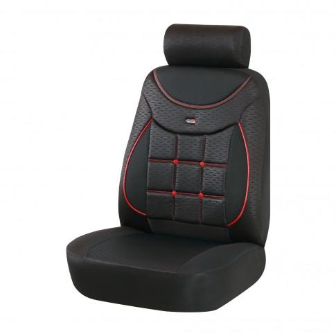 Huse auto pentru scaun, Otom Silver 609, universale, negru + rosu, set 15 piese