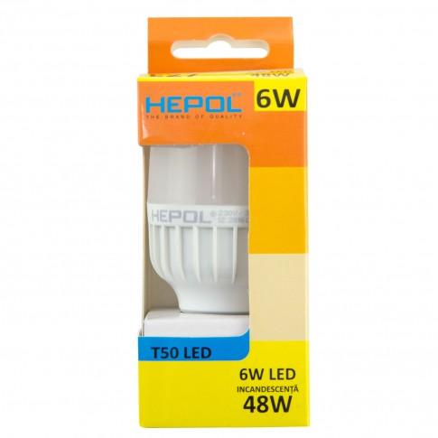 Bec LED Hepol tubular T50 E27 6W 590lm lumina calda 3000 K