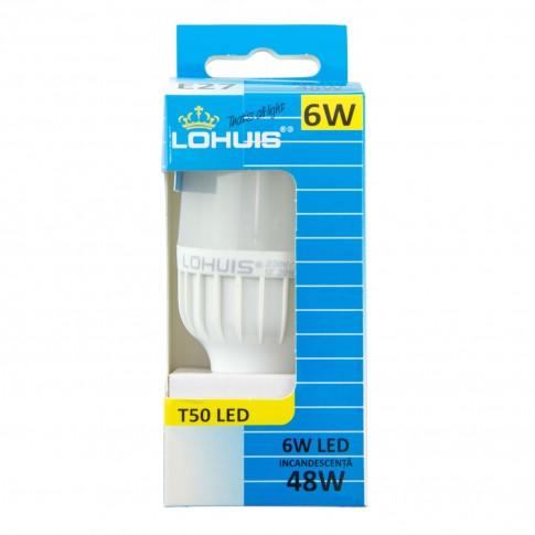 Bec LED Lohuis tubular T50 E27 6W 600lm lumina rece 6500 K