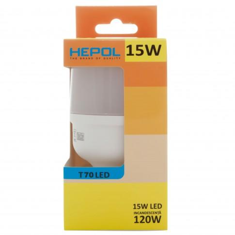 Bec LED Hepol tubular T70 E27 15W 1400lm lumina calda 3000 K
