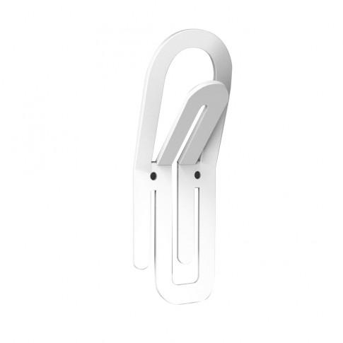 Cuier pentru mobila, din metal, Clip, alb, cu 2 agatatori