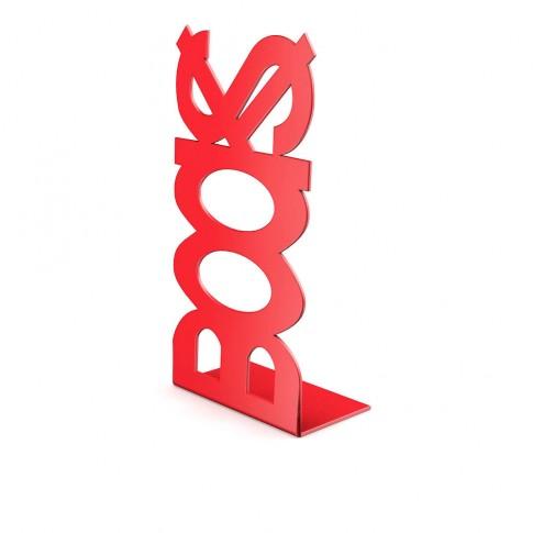 Consola decorativa, din metal, Books, rosie, 120 mm
