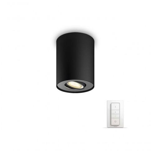 Spot LED Hue Pillar 5633030P7, 1 x GU10, 5.5W negru + intrerupator
