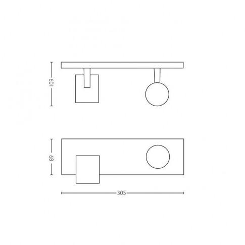 Plafoniera LED Hue Runner 5309230P7, GU10, 2 x 5.5W, negru