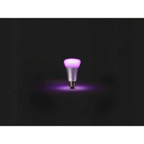 Starter Kit Philips Hue: 3 becuri inteligente LED color RGB E27 clasic A19 10W + 1 consola + 1 dimmer, Wi-Fi