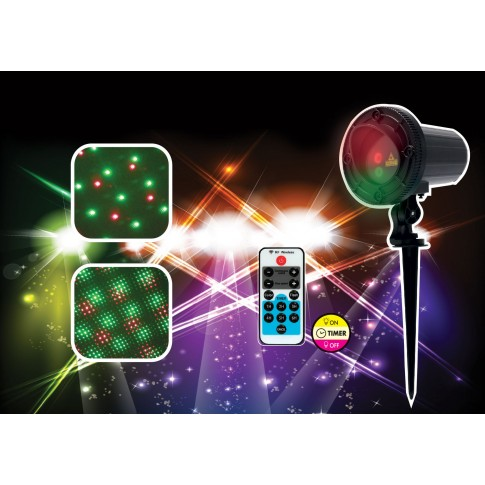 Proiector laser Craciun, exterior / interior, Hoff, rosu + verde, aluminiu