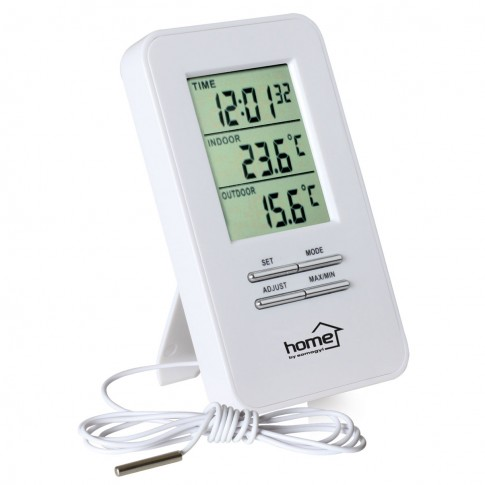 Termometru cu fir Home HC 12, LCD, interior / exterior, alb, ceas