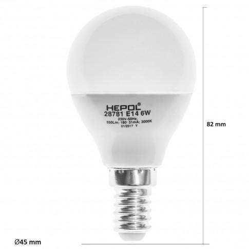 Bec LED Hepol mini E14 6W 550lm lumina calda 3000 K, dimabil