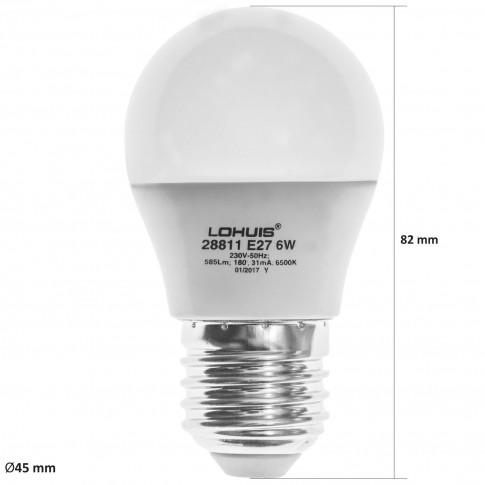 Bec LED Lohuis mini E27 6W 585lm lumina rece 6500 K, dimabil