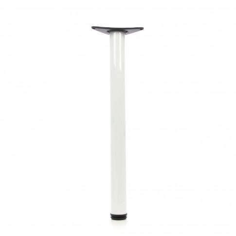 Picioare  mobila, pentru masa, reglabile, metalice, albe, rotunde, 870 mm, set 4 bucati