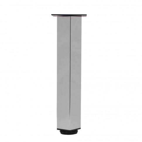 Picioare mobila, universale, reglabile, metalice, cromate, patrate, 400 mm, set 4 bucati