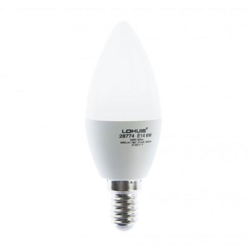 Bec LED Lohuis lumanare E14 6W 585lm lumina rece 6500 K, dimabil