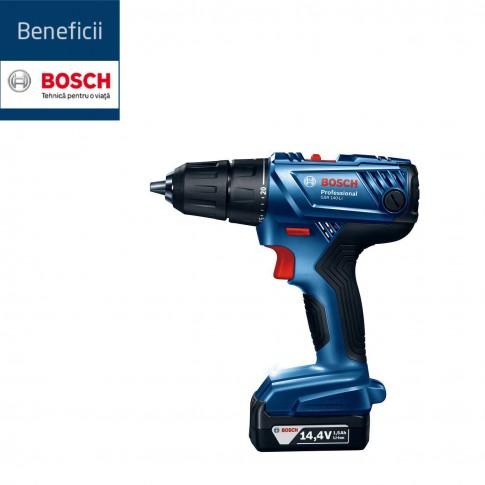 Masina de gaurit / insurubat Bosch Professional GSR 140-LI, cu 2 acumulatori, 14.4 V, 1.5 Ah
