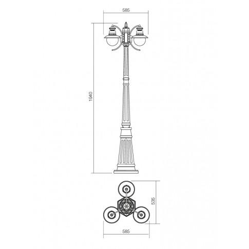 Stalp de iluminat ornamental Scott 9048, 3 x E27, H 194 cm, negru cu patina cupru