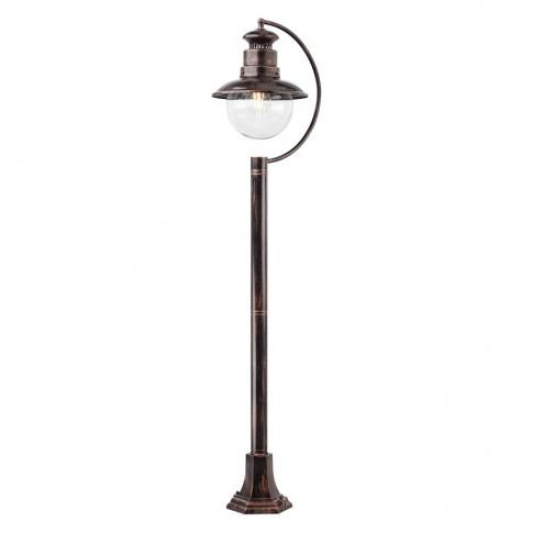 Stalp de iluminat ornamental Scott 9047, 1 x E27, H 108 cm, negru cu patina cupru