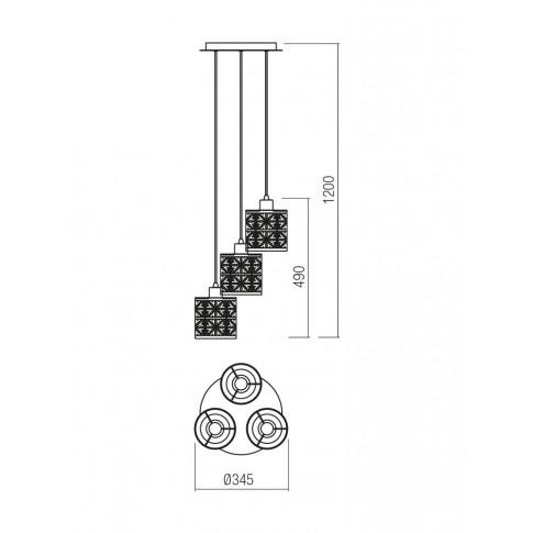 Suspensie Vanilla Bk 01-1172, 3 x E27, neagra