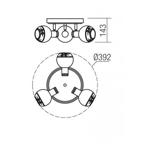 Plafoniera Auris 04-451, 3 x E14