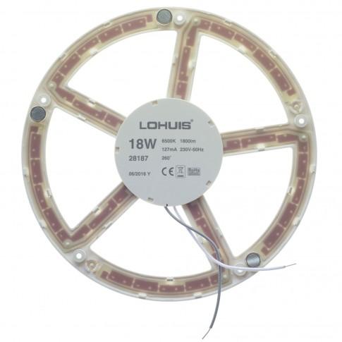 Kit modul LED Lohuis rotund 18W 1800lm + driver 22 cm lumina rece 6500 K