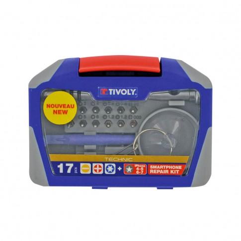 Trusa de scule de mana pentru reparatii smartphone si tablete Tivoly, 17 piese