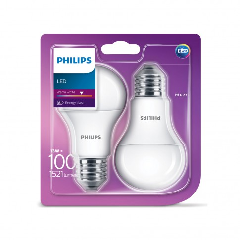 Bec LED Philips clasic A60M E27 13W 1521lm lumina calda 2700 K - 2 buc