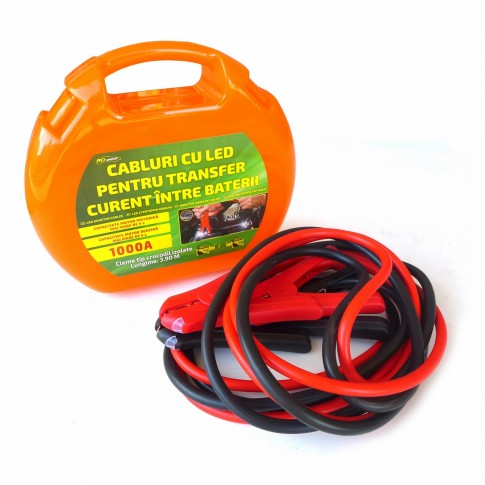Cablu auto pentru transfer curent, cu LED, RoGroup, 1000 A, set 2 bucati