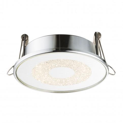 Spot LED incastrat Manda 12005, 6W, lumina neutra, crom, sticla si cristale K5