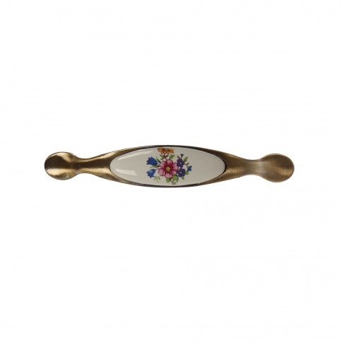 Maner pentru mobila, metalic, cu portelan cu model floral, finisaj cupru antic, M4 x 96 mm