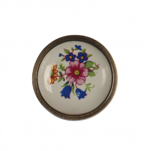 Buton pentru mobila, portelan, model floral