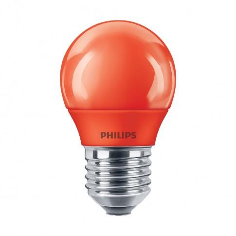 Bec LED color Philips mini P45 E27 3.1W lumina rosie