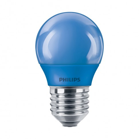 Bec LED color Philips mini P45 E27 3.1W lumina albastra