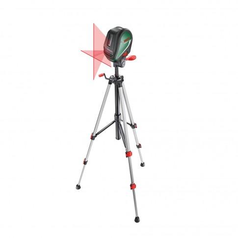 Nivela cu laser, cu linii in cruce, cu autonivelare, cu linie verticala suplimentara si punct de verticala, Bosch UniversalLevel 3, 0603663901 + stativ