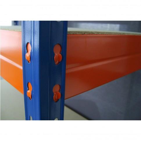 Raft metalic depozitare, Stabil, 192 x 100 x 50 cm, portocaliu + albastru, 300 kg/polita