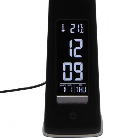 Veioza LED Helen 5W cu display, functie touch, 3 trepte de lumina, neagra