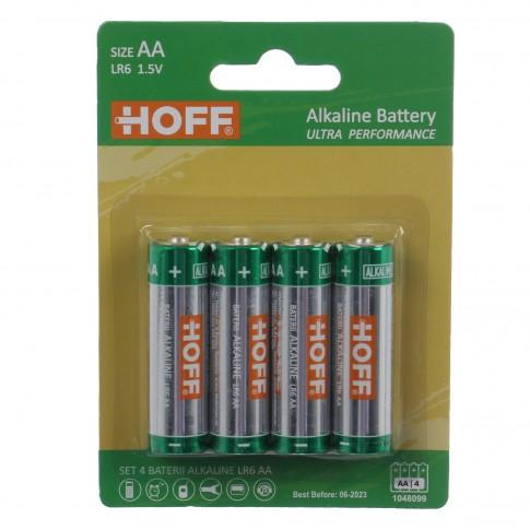 Baterie Hoff, AA / LR6, alcalina, 4 buc