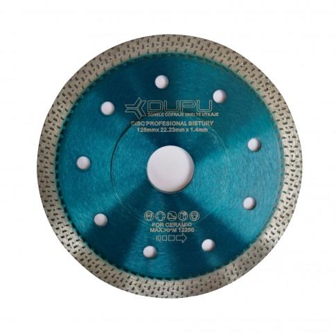 Disc diamantat, continuu, pentru debitare placi ceramice, Dupu Bistury, 125 x 22.23 x 1.4 mm