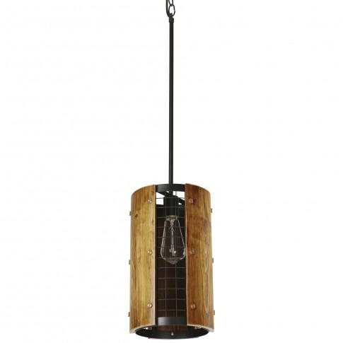 Suspensie Cedrus KL 6349, 1 x E27, negru + stejar