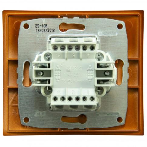 Intrerupator dublu, Mono Electric Larissa, incastrat, rama inclusa, cires