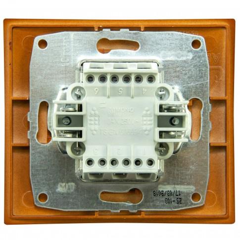 Intrerupator dublu, cu indicator luminos, Mono Electric Larissa, incastrat, rama inclusa, cires