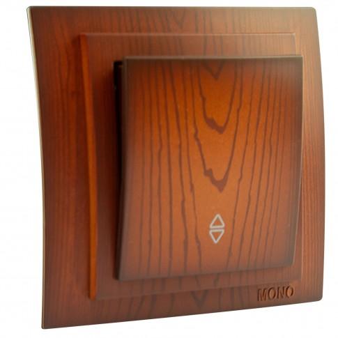 Intrerupator cap scara simplu, Mono Electric Larissa, incastrat, rama inclusa, cires